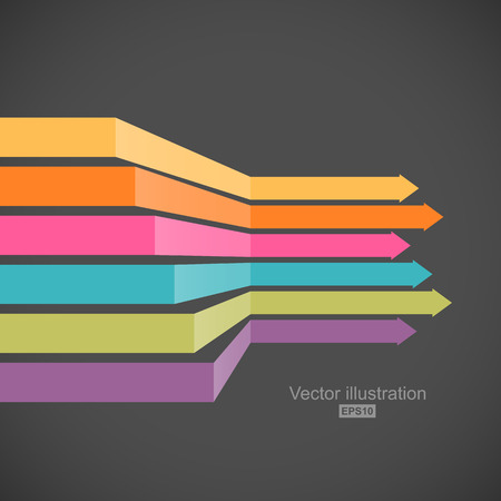 Colorful horizontal arrows in perspective. Easy to change color