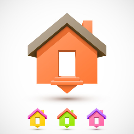 pin icon: Colorful house pointer. Easy to change colors