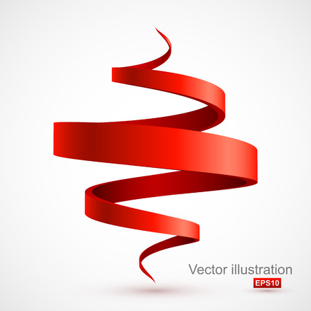 ribbon: Red spiral 3D