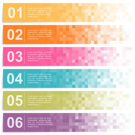 Reihe von bunten Banner mit Pixel-Optionen