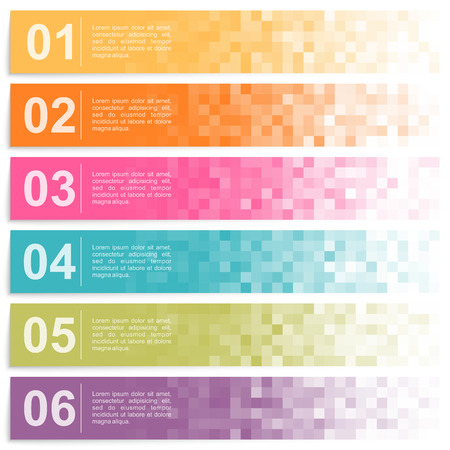 Set of colorful pixel banners with options Ilustração