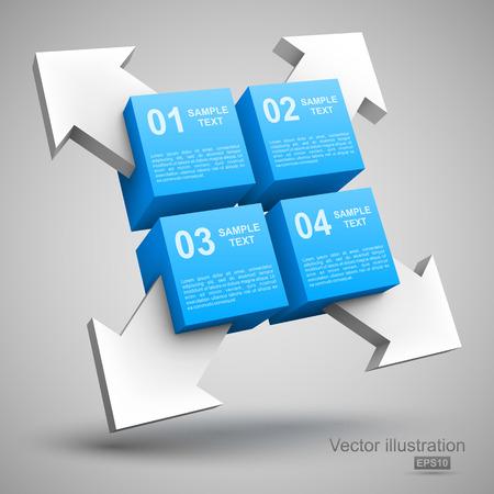 Blue cubes with arrows 3D