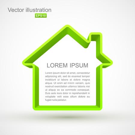 Green house outline symbol Illustration