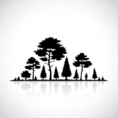 summer trees: Forest silhouette icon
