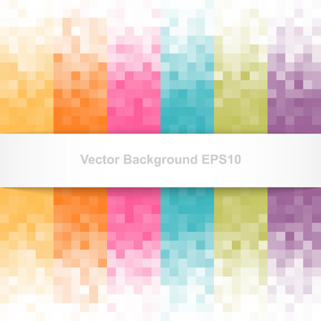 Abstract pixel background with white banner