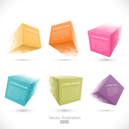 Set of pixelated cube banners Vectores