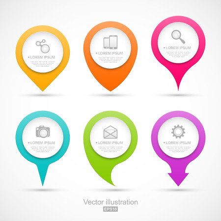 icons business: Set of colorful circle pointers. Easy to change colors Illustration