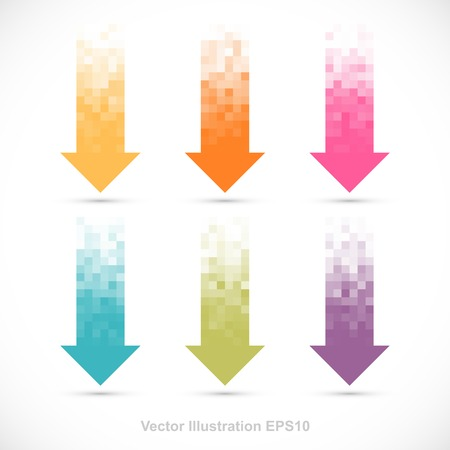 pixelated: Set of pixelated arrows