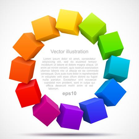 Colored cubes 3D Vectores