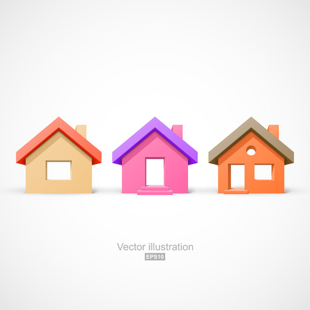 Set of colorful simple houses. Easy to change colors Vettoriali