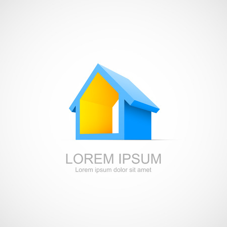 sold small: House abstract real estate icon. Easy to change color Illustration