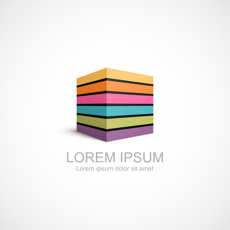 Colorful striped cube icon. Easy to change color