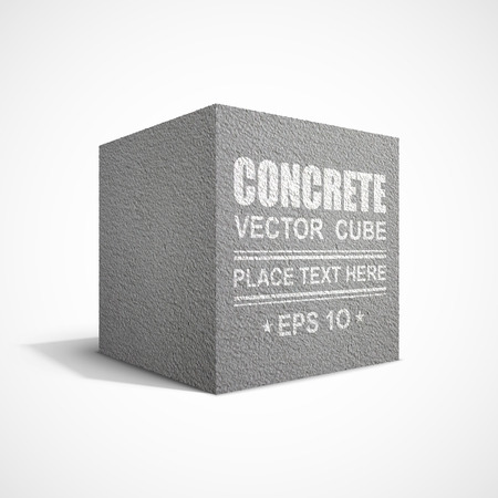 Concrete cube on white background Vector