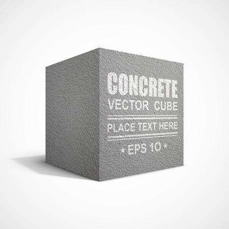 cemento: Cubo de hormigón en el fondo blanco Vectores