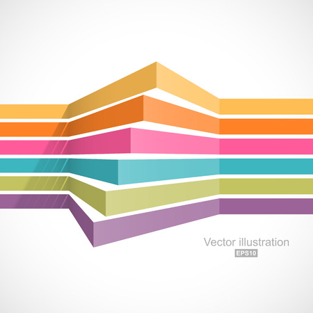 color spectrum: Colorful horizontal lines in perspective. Easy to change color Illustration