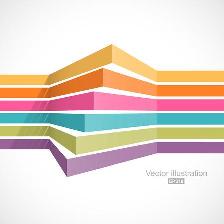 Kleurrijke horizontale lijnen in perspectief. Gemakkelijk om kleur te veranderen Stock Illustratie
