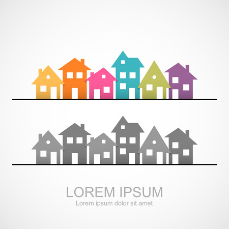 colored background: Suburban homes icon