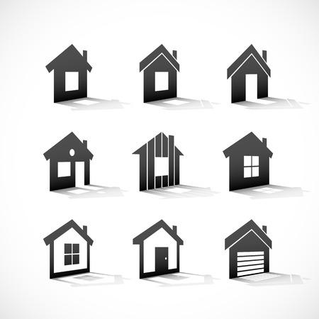 garage door: Set of house icons