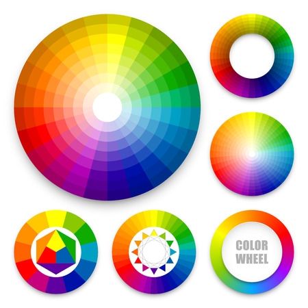 Set of color wheels 向量圖像
