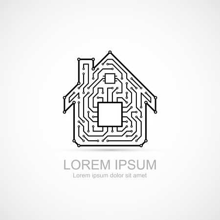 Circuit board house icon Stock Vector - 37506774