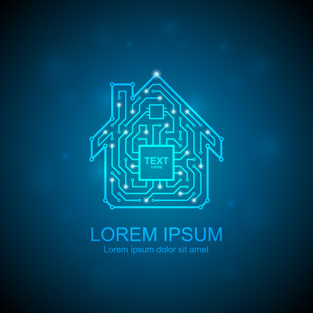 my home: Circuit board house icon. Home automation concept