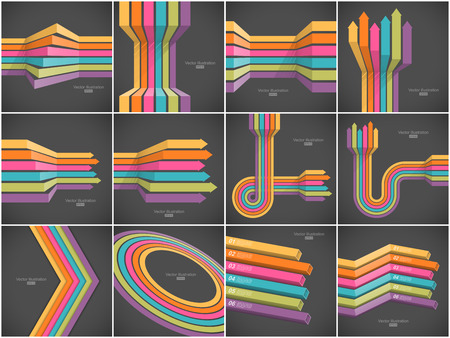 Set of colorful lines backgrounds. Easy to change colors