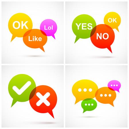 word bubble: Set of colorful speech bubbles