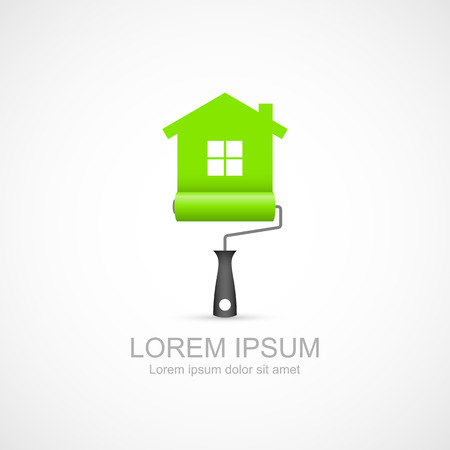 Paint roller with green house symbol icon