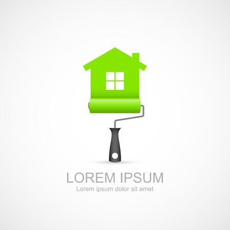 Verfroller met groene huis symbool pictogram Stock Illustratie