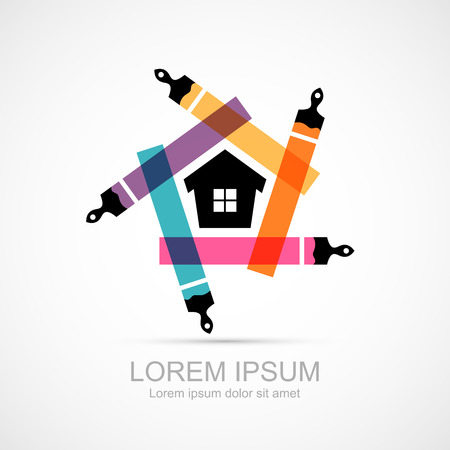 Colorful paint brushes with house symbol icon