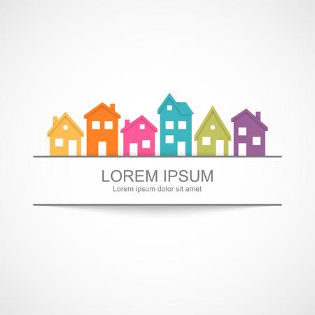 silhouette maison: Maisons de banlieue icône avec bannière