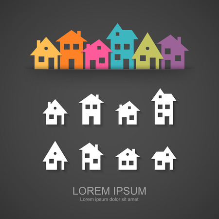 Suburban homes icon set Illustration