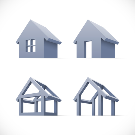Set of abstract houses icons  イラスト・ベクター素材