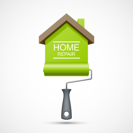 House repair icon. Paint roller with green house Imagens - 45911765