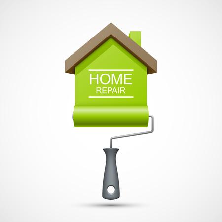 the maintenance: Icono de reparación de la casa. Rodillo de pintura con la casa verde