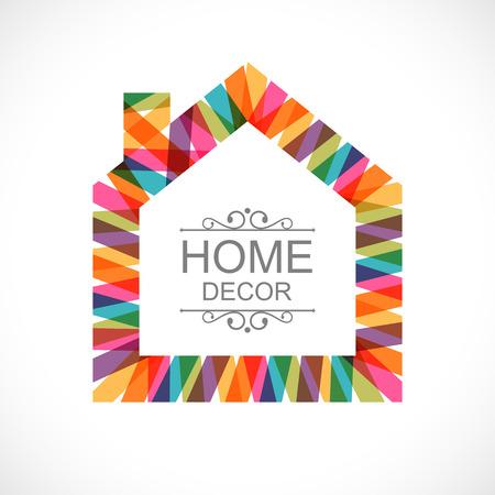 silhouette maison: Maison Creative décoration icône Illustration