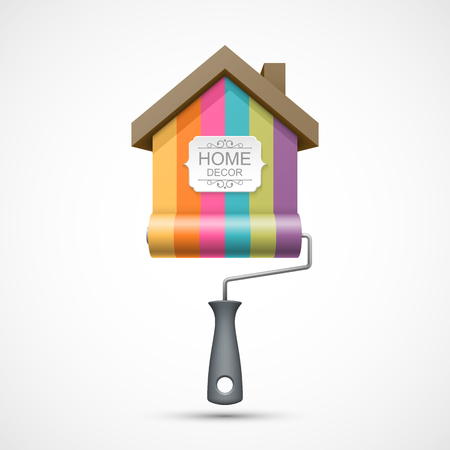 paint house: House renovation icon. Colorful paint roller with house and banner