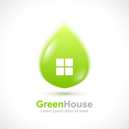 abstract green: Green leaf house concept icon