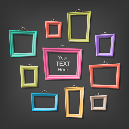 Set of cartoon picture frames