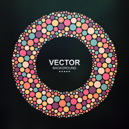 chaotic: Abstract colorful dotted circle on dark background