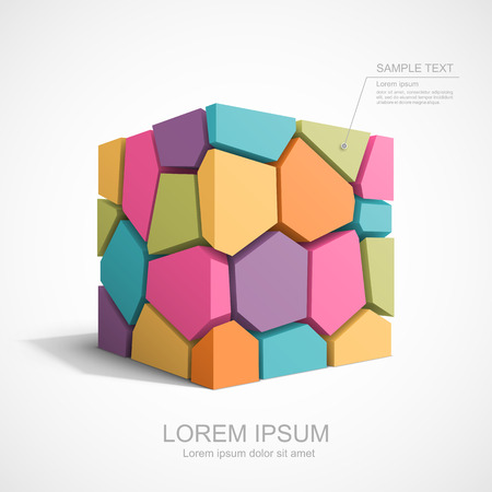 Colorful cracked cube. Easy to change color for each piece