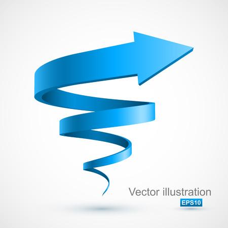 Niebieski spiralna strzałka 3D Ilustracje wektorowe