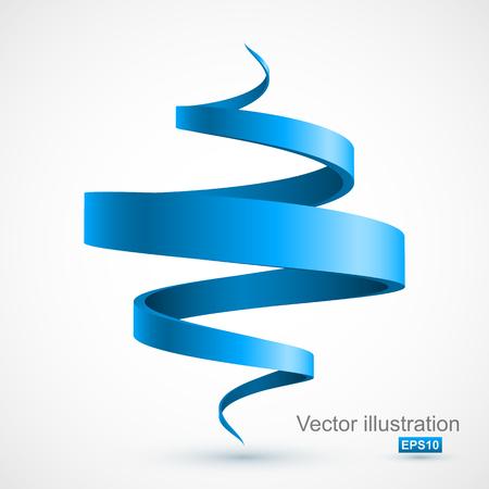 青 3 D スパイラル  イラスト・ベクター素材