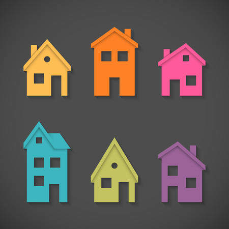 Set of colorful houses icons Stock Illustratie