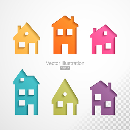 houses: Set of colorful houses icons Illustration