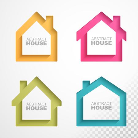 Set van kleurrijke huizen iconen