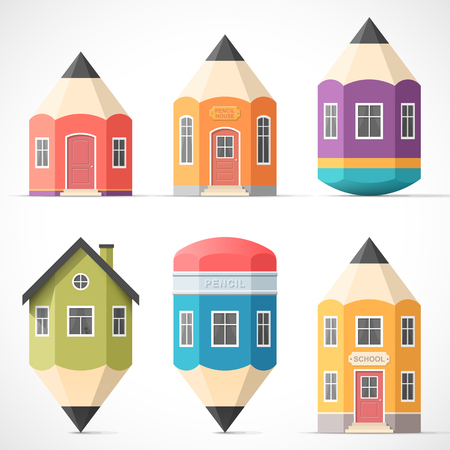 education cartoon: Set of colorful pencil houses