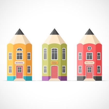 다채로운 연필 주택의 설정