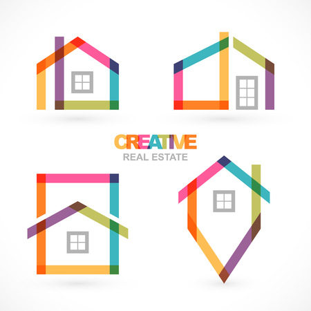 Creative huis abstract onroerend goed iconen set Stock Illustratie