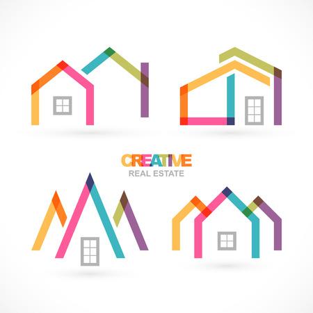 villa: Creative house abstract real estate icons set